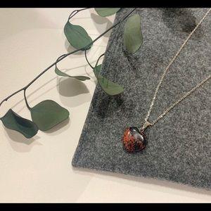 Mahogany obsidian heart necklace
